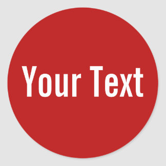 ONLY COLOR | red + your text Classic Round Sticker