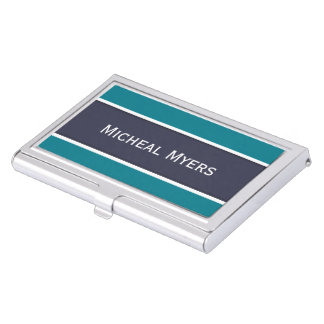 ONLY COLOR STRIPES - white & petrol Business Card Holder