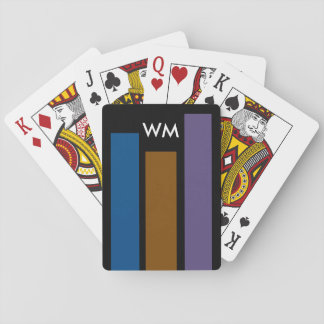 Only colored stripes blue brown lilac + monogram playing cards