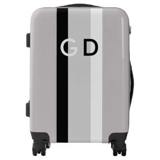 Only colored stripes grey black white + monogram luggage