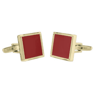 Only cool red wine maroon solid color background gold finish cufflinks