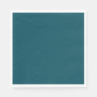 Only dark teal blue coral solid color background standard luncheon napkin