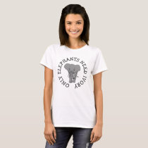 Only Elephants Need Ivory, Anti Poaching Button T-Shirt