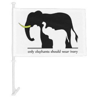 Only Elephants Should Wear Ivory Car Flag