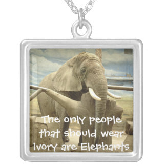 Only Elephants should wear Ivory Silver Plated Necklace