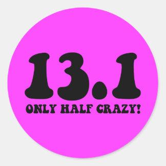 only half crazy classic round sticker