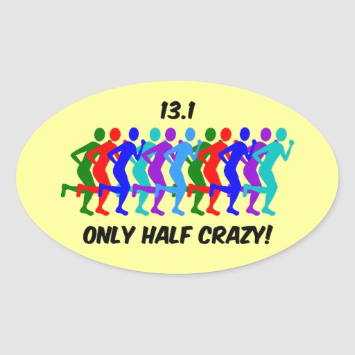 only half crazy oval stickers