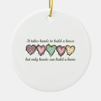 ONLY HEARTS CAN BUILD A Double-Sided CERAMIC ROUND CHRISTMAS ORNAMENT