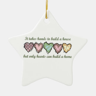 ONLY HEARTS CAN BUILD A Double-Sided STAR CERAMIC CHRISTMAS ORNAMENT