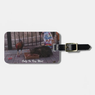 """Only In Key West"" Cat & Rooster Luggage Tag"