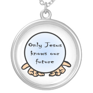 Only Jesus knows our future Christian globe Round Pendant Necklace