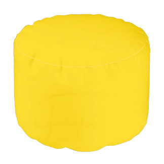 Only lemon yellow pretty solid color background round pouf