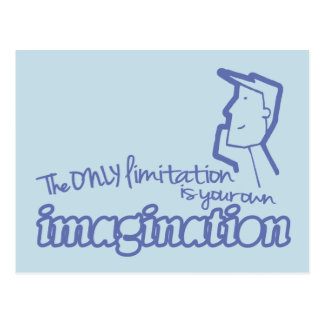 Only limitation imagination blue quote postcard