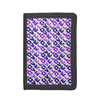 Only love: violet and purple version trifold wallet
