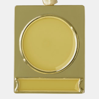 Only mustard misted yellow cool solid OSCB41 Gold Plated Banner Ornament