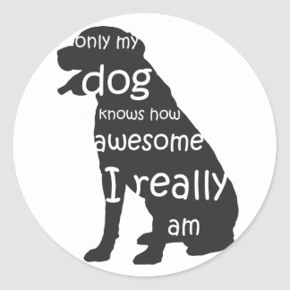 only my dog knows how awesome I am Classic Round Sticker