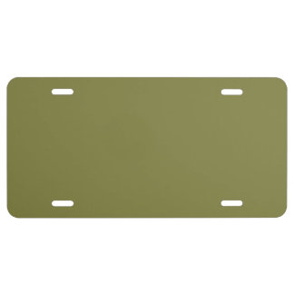 Only olive green cool solid color background license plate