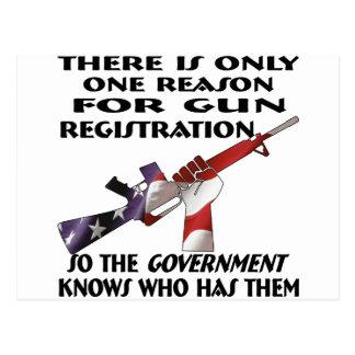 Only ONE Reason For Gun Registration Postcard