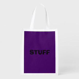 Only purple deep cool solid color background reusable grocery bag