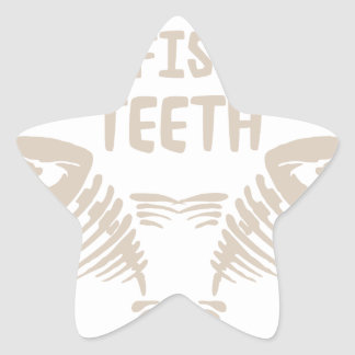 Only Real Men Go For Fish With Teeth Star Sticker