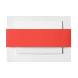 Only Red crimson solid color   A blank slate Invitation Belly Band