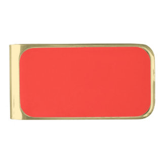 Only red tomato modern solid color OSCB35 Gold Finish Money Clip