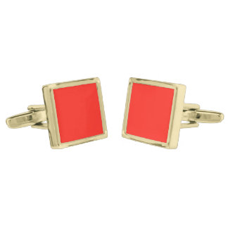 Only red tomato rustic solid color OSCB35 Gold Cufflinks