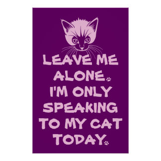 Only Speaking To My Cat Today Poster