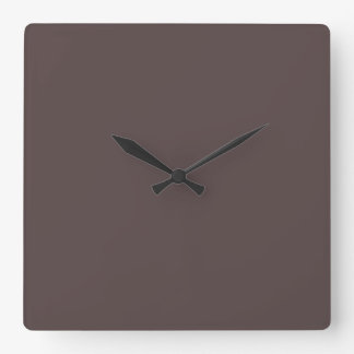 Only Taupe dark solid color Square Wall Clocks