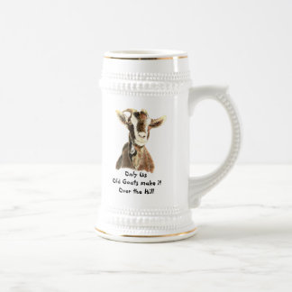 Only Us Old Goats make it Over the Hill Birthday Beer Stein