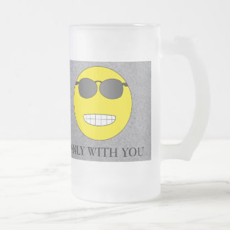 Only with you frosted glass beer mug