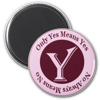 Only Yes Means Yes No Always Means No Awareness 2 Inch Round Magnet