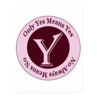Only Yes Means Yes No Always Means No Awareness Postcard