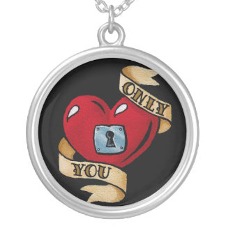 """""""Only You"""" Old School Tattoo Silver Plated Necklace"""