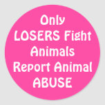 OnlyLOSERS Fight Round Pink Classic Round Sticker