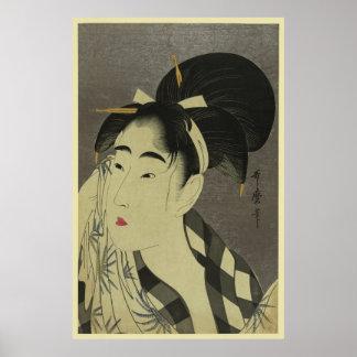 Onna del fuku de Ase o (barrido de la mujer Póster