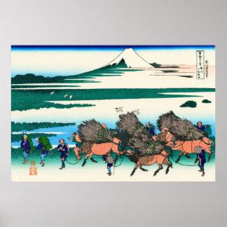Ono Shindon, por Katsushika Hokusai Póster