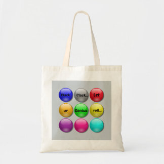 Onomatopoeia word clack thinking marbles budget tote bag