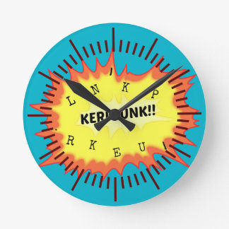 Onomatopoeia word kerplunk thinking loud noise round clock
