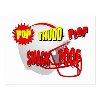 Onomatopoeia words pop, smack, thinking football postcard