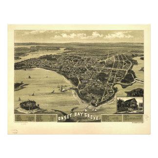 Onset Bay Grove Wareham Massachusetts Map (1885) Letterhead
