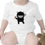 onsie del niño del gatito del ninja traje de bebé