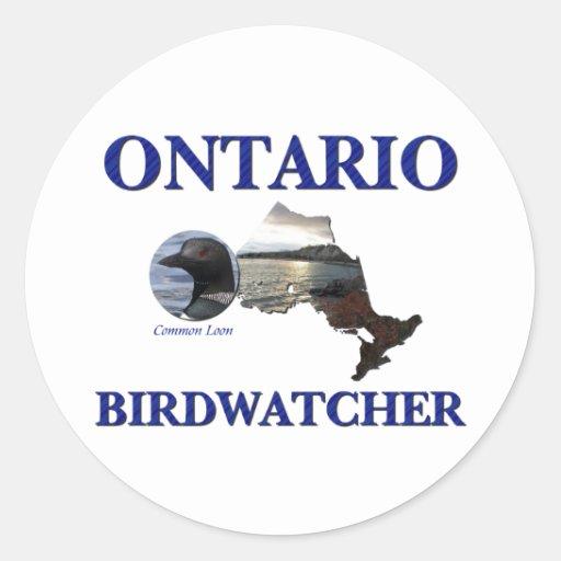 Ontario Birdwatcher Pegatinas Redondas
