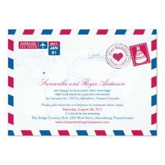 Ontario Canada Air Mail Post Wedding Reception Invites