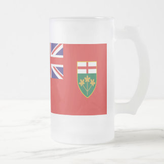 Ontario Flag Frosted Glass Beer Mug