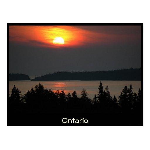 Ontario - puesta del sol del lago Superior - posta