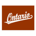 Ontario script logo in white distressed post card