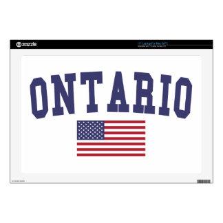 "Ontario US Flag 17"" Laptop Decal"