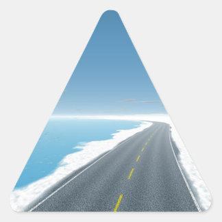 OnTheRoadAgain - camino del hielo Calcomanías De Trianguloes Personalizadas