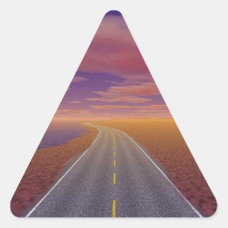 OnTheRoadAgain - camionero solitario Pegatina Triangular